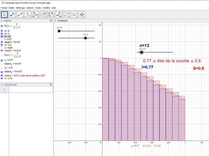 Approximation - méthode des rectangles