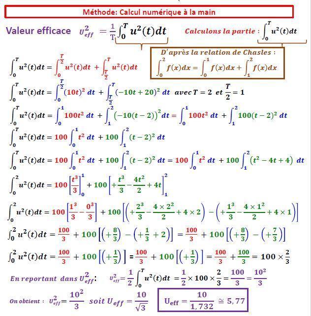 Calcul Valeur Efficace
